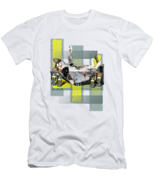 Funny Pet Print With A Tipsy Kitty  Men's T-Shirt (Athletic Fit)