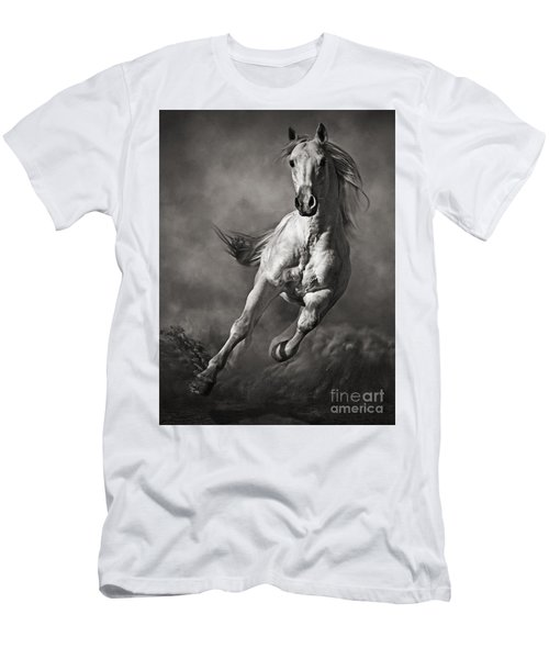 Galloping White Horse In Dust Men's T-Shirt (Athletic Fit)