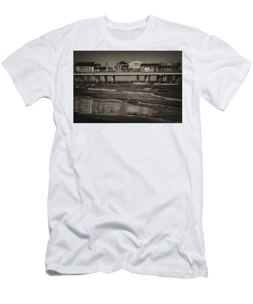 Galveston Pleasure Pier - Black And White Men's T-Shirt (Athletic Fit)