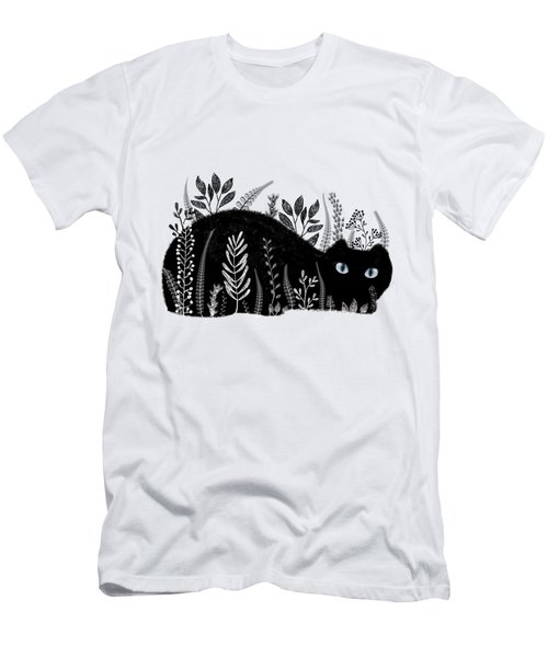 Garden Cat In Black And White Men's T-Shirt (Athletic Fit)