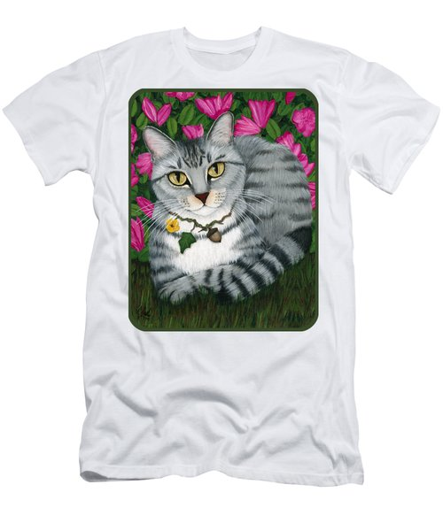 Men's T-Shirt (Athletic Fit) featuring the painting Garden Cat - Silver Tabby Cat Azaleas by Carrie Hawks