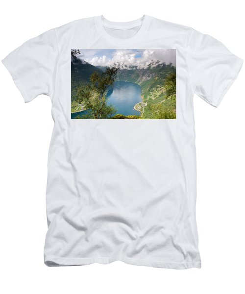 Geirangerfjord With Birch Men's T-Shirt (Athletic Fit)