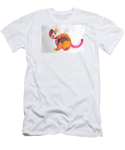 Men's T-Shirt (Slim Fit) featuring the painting Geometric Cat by Sandy McIntire