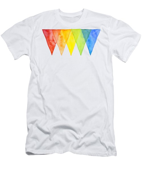 Geometric Watercolor Pattern Rainbow Triangles Men's T-Shirt (Athletic Fit)