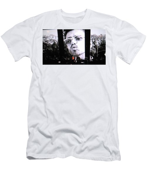 Men's T-Shirt (Slim Fit) featuring the photograph George Michael Sends A Kiss by Toni Hopper