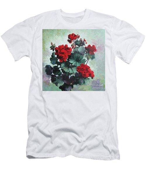 Men's T-Shirt (Slim Fit) featuring the painting Geranium by Elena Oleniuc