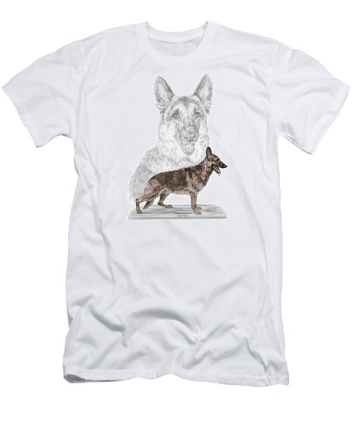 Men's T-Shirt (Slim Fit) featuring the drawing German Shepherd Art Print - Color Tinted by Kelli Swan