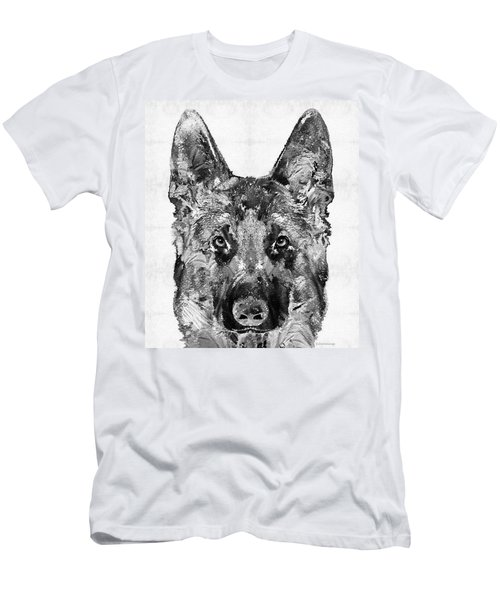 Men's T-Shirt (Athletic Fit) featuring the painting German Shepherd Black And White By Sharon Cummings by Sharon Cummings