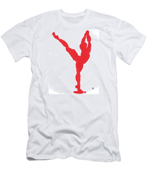 Men's T-Shirt (Slim Fit) featuring the painting Gesture Brush Red 1 by Shungaboy X