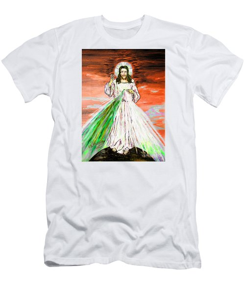 Men's T-Shirt (Slim Fit) featuring the painting Gesu' by Loredana Messina