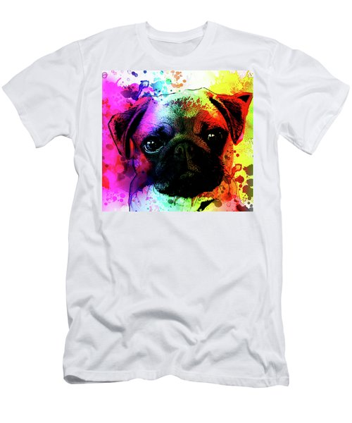Giant Pug Watercolor Print  Men's T-Shirt (Athletic Fit)