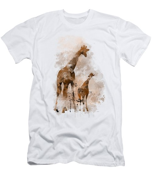 Giraffe And Baby Men's T-Shirt (Slim Fit)