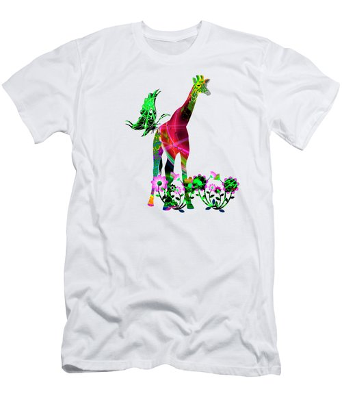 Giraffe And Flowers3 Men's T-Shirt (Athletic Fit)