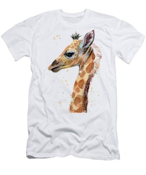 Giraffe Baby Watercolor Men's T-Shirt (Athletic Fit)