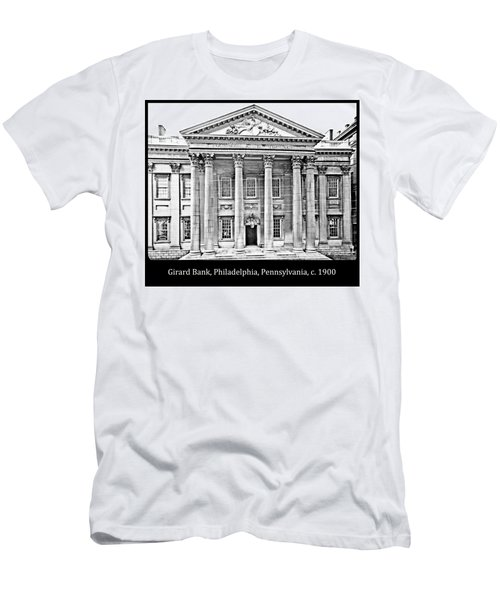 Men's T-Shirt (Slim Fit) featuring the photograph Girard Bank Building Philadelphia C 1900 Vintage Photograph by A Gurmankin