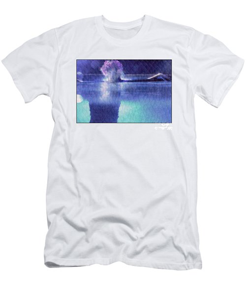Girl In Pool At Night Men's T-Shirt (Slim Fit) by Michael Edwards