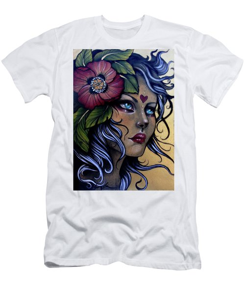 Girl With Poppy Flower Men's T-Shirt (Athletic Fit)