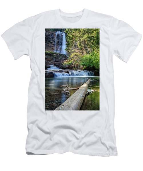 Glacier National Park Waterfall 3 Men's T-Shirt (Slim Fit) by Andres Leon