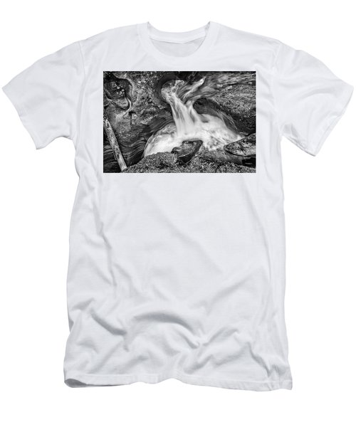 Glacier National Park's Avalanche Gorge In Black And White Men's T-Shirt (Athletic Fit)