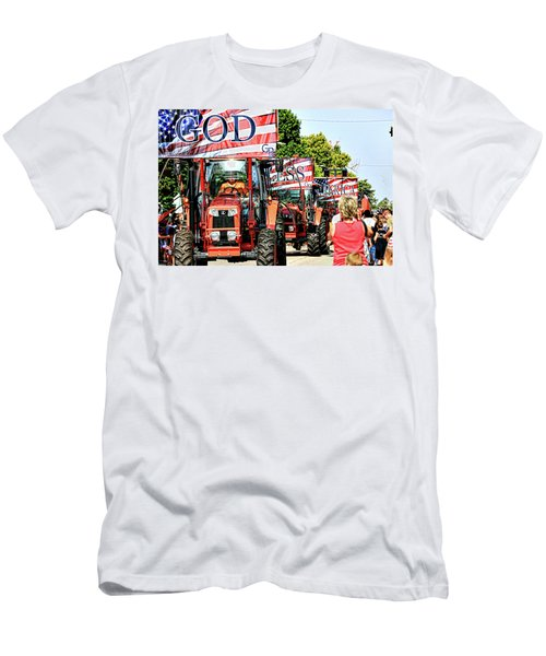 Men's T-Shirt (Slim Fit) featuring the photograph God Bless America And Farmers by Toni Hopper