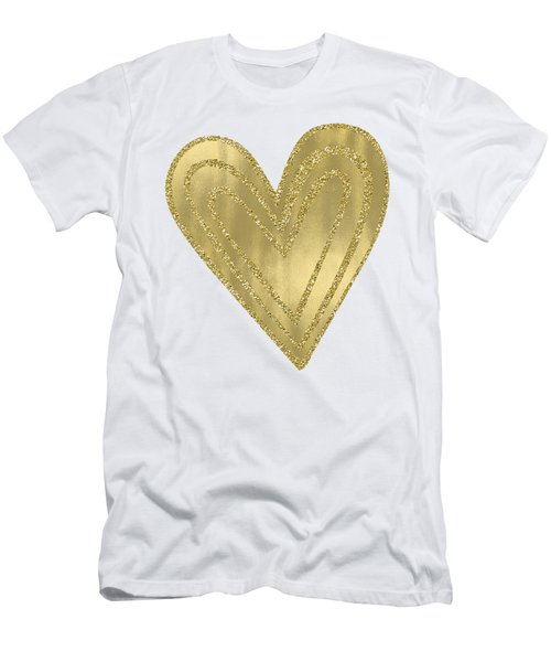 Gold Glam Heart Men's T-Shirt (Slim Fit) by P S
