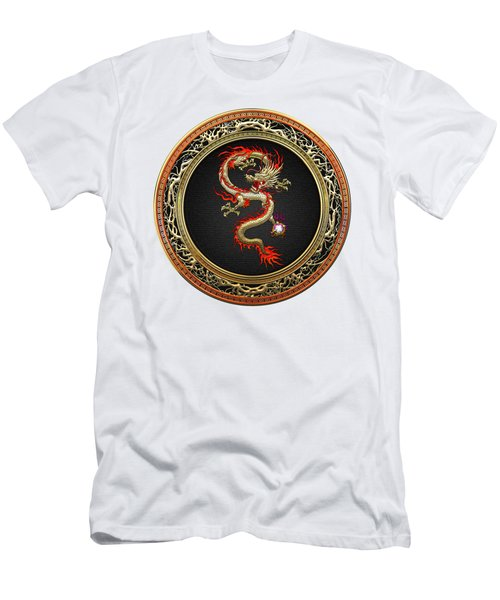 Golden Chinese Dragon Fucanglong On White Leather  Men's T-Shirt (Athletic Fit)