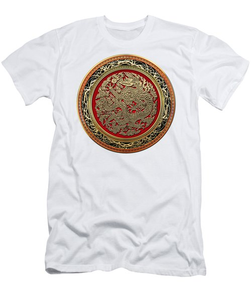 Golden Chinese Dragon White Leather  Men's T-Shirt (Slim Fit) by Serge Averbukh