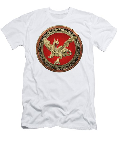 Golden Guardian Dragon Over White Leather Men's T-Shirt (Slim Fit) by Serge Averbukh
