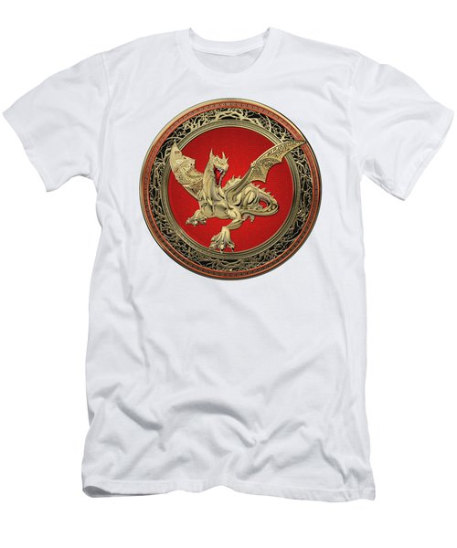 Golden Guardian Dragon Over White Leather Men's T-Shirt (Athletic Fit)