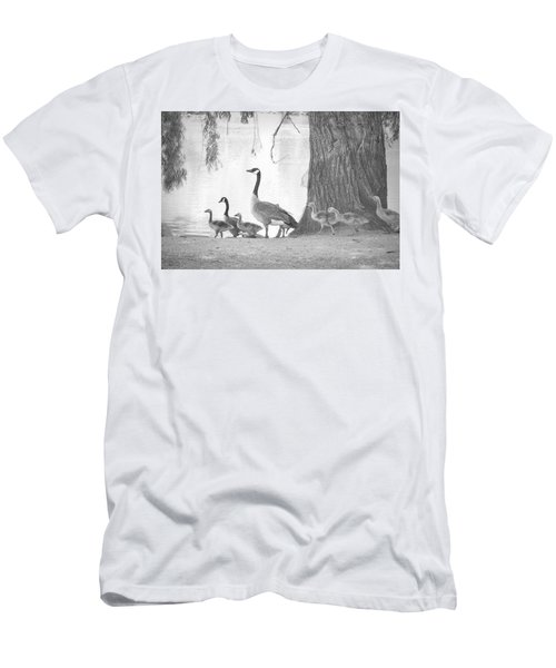 Men's T-Shirt (Slim Fit) featuring the photograph Goose Family  by Clarice Lakota