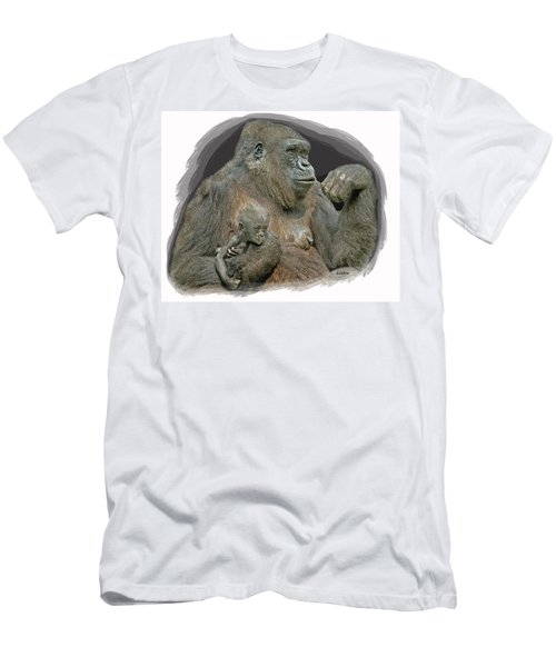 Men's T-Shirt (Athletic Fit) featuring the digital art Gorilla Motherhood by Larry Linton