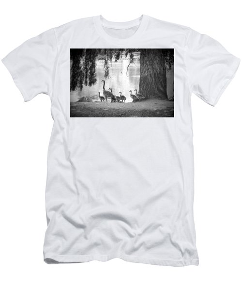 Men's T-Shirt (Slim Fit) featuring the photograph Goslings Bw7 by Clarice Lakota