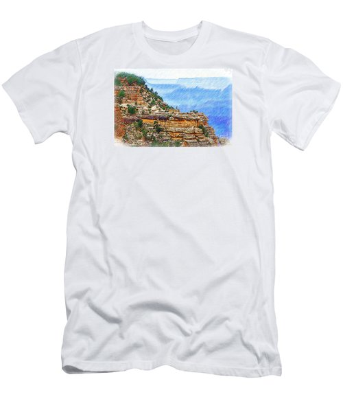 Grand Canyon Overlook Sketched Men's T-Shirt (Slim Fit) by Kirt Tisdale