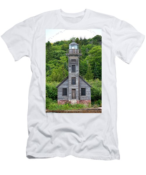 Men's T-Shirt (Slim Fit) featuring the photograph Grand Island East Channel Lighthouse #6672 by Mark J Seefeldt