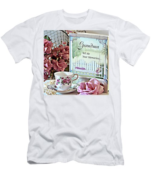 Men's T-Shirt (Slim Fit) featuring the photograph Grandma Tell Me Your Memories... by Sherry Hallemeier