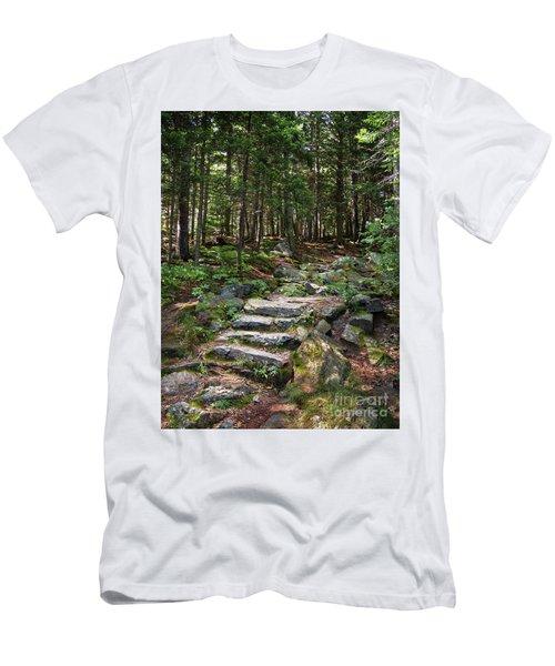 Granite Steps, Camden Hills State Park, Camden, Maine -43933 Men's T-Shirt (Slim Fit) by John Bald