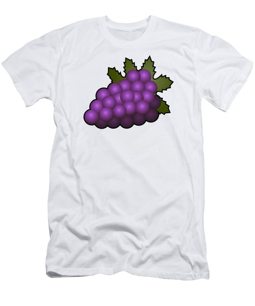 Grapes Fruit Outlined Men's T-Shirt (Slim Fit) by Miroslav Nemecek