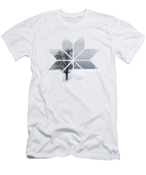 Graphic Art Snowflake Lonely Tree Men's T-Shirt (Slim Fit) by Melanie Viola