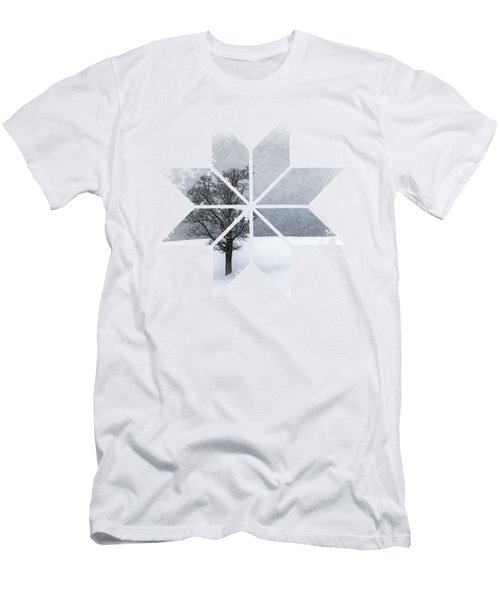 Graphic Art Snowflake Lonely Tree Men's T-Shirt (Athletic Fit)