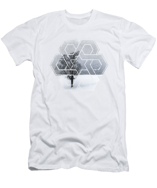Graphic Art Wintertime Lonely Tree  Men's T-Shirt (Slim Fit) by Melanie Viola