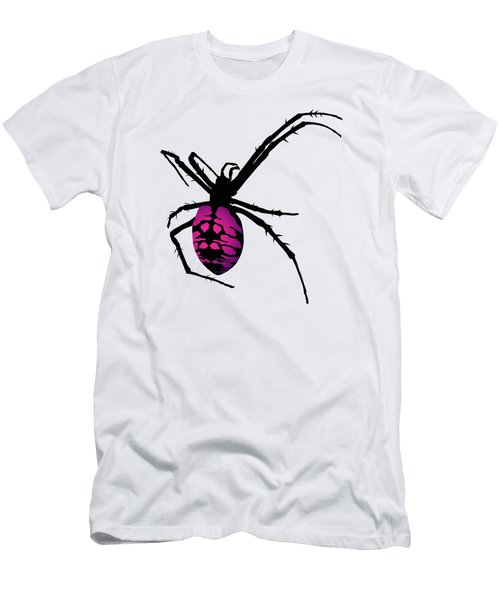 Graphic Spider Black And Purple Men's T-Shirt (Slim Fit) by MM Anderson