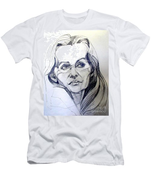 Men's T-Shirt (Slim Fit) featuring the drawing Graphite Portrait Sketch Of A Woman With Glasses by Greta Corens