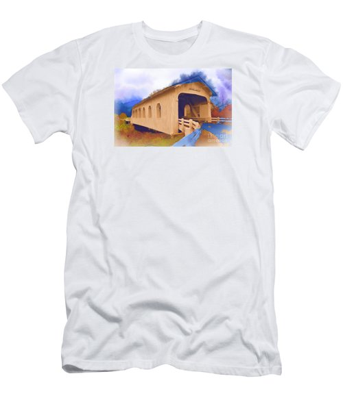 Grave Creek Covered Bridge In Watercolor Men's T-Shirt (Slim Fit) by Kirt Tisdale