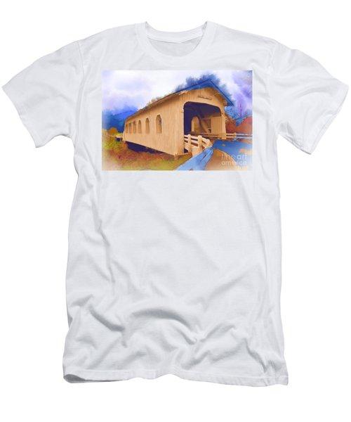 Grave Creek Covered Bridge In Watercolor Men's T-Shirt (Athletic Fit)