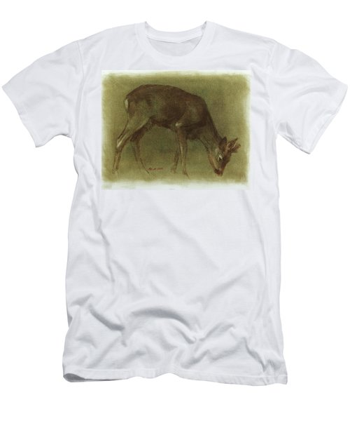 Grazing Roe Deer Oil Painting Men's T-Shirt (Athletic Fit)