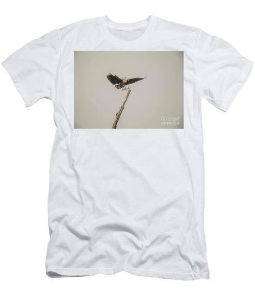 Men's T-Shirt (Slim Fit) featuring the photograph Great Blue Landing by David Bearden