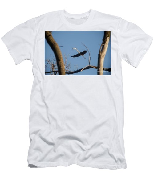 Men's T-Shirt (Slim Fit) featuring the photograph Great Blues Nesting by David Bearden