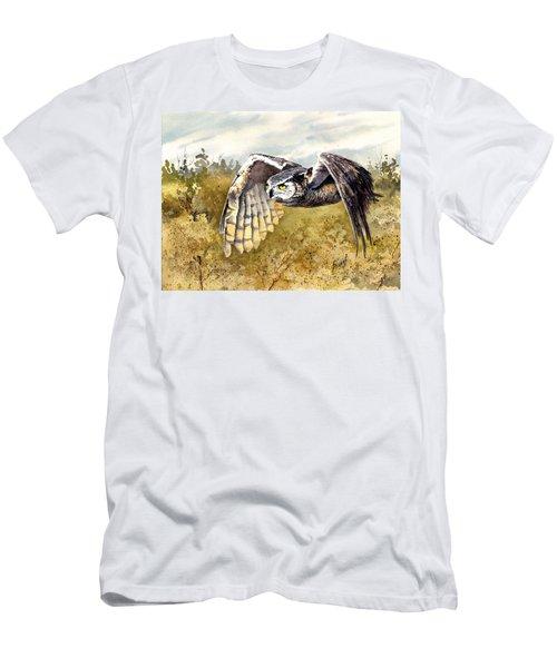 Great Horned Owl In Flight Men's T-Shirt (Slim Fit) by Sam Sidders