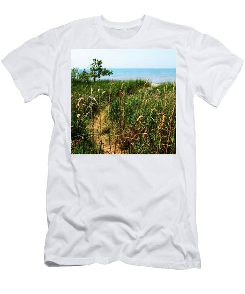 Men's T-Shirt (Athletic Fit) featuring the photograph Great Lake Beach Path by Michelle Calkins