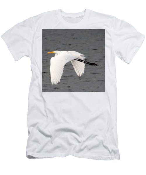 Great White Egret In Flight Men's T-Shirt (Slim Fit) by Laurel Talabere